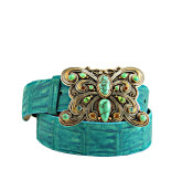 Turquoise Green Sueded Alligator
